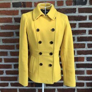 J crew mustard yellow stadium cloth pea coat